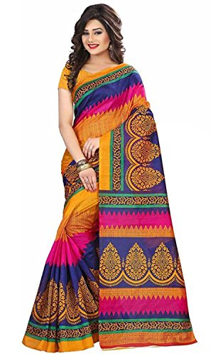Rensil Women\'s Art Silk Saree With Blouse Piece (Rs156 Sarees For Women_Multi Colored)