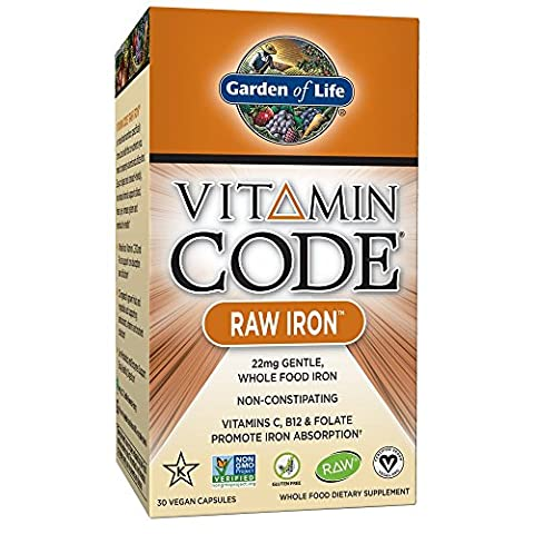 Garden of Life Raw Iron Supplement - Vitamin Code Iron Complex Whole Food Vitamin, Vegan, 30 Capsules