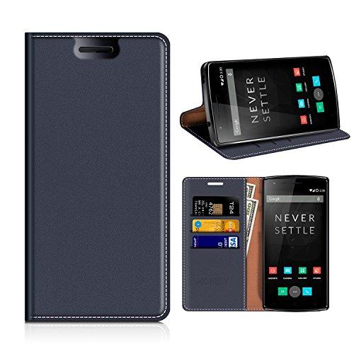 MOBESV Custodia in Pelle OnePlus One, Custodia OnePlus One Cover Libro/Portafoglio Porta per Cellulare OnePlus One (OnePlus 1) - Blu Scuro