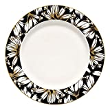 GreenGate - Dinner Plate Florette Black - Speiseteller/Teller - New Bone China Porzellan - Schwarz/Weiß/Bunt - Ø 25,3cm - Nicht Spülmaschinenfest/Nicht Mikrowellengeeigent