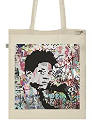 Tote Bag Imprimé Ecru–lienzo de algodón orgánico–Jean-Michel Basquiat