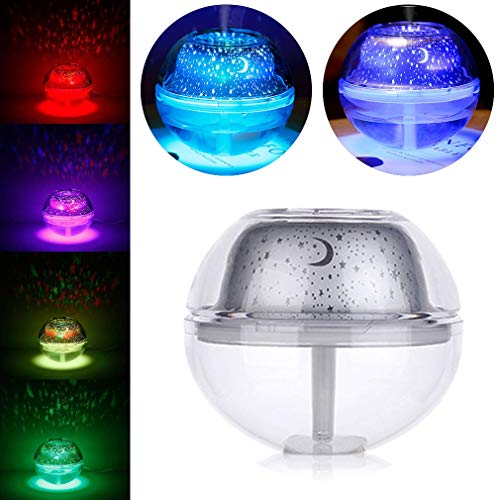 Slinlu Flüsterleiser Luftbefeuchter Aroma Diffuser Night 7 LED-Farbleuchten Wasserlose automatische Luftreiniger,Silver (Home-duft-aroma-perlen)