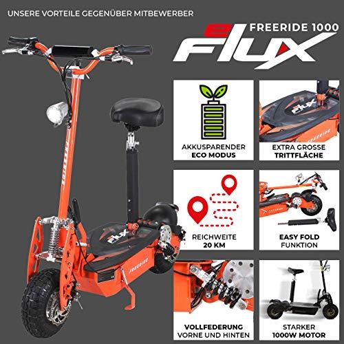 E-Scooter Roller Original E-Flux Freeride 1000 Watt 48 V mit Licht und Freilauf Elektroroller E-Roller in vielen Farben (orange) - 2