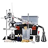 YUEWO 44Pcs Neue 500ml Labor Ätherisches Öl Destillationsgerät Wasserfilter Destille Glaswaren Kits w/Werkzeug Fall Kondensator Rohr