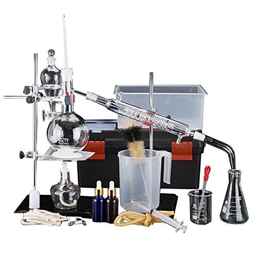 44 Pcs Neue 500ml Labor Ätherisches Öl Destillationsgerät Wasserfilter Destille Glaswaren Kits w/Werkzeug Fall Kondensator Rohr (Rohre Glas Geblasen)