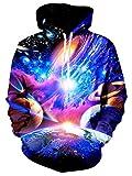 Leapparel Herren Kapuzenpullover Hoodies 3D Bunte Galaxie Grafik All-over Print Pullover mit Tunnelzug und Große Kängurutasche und Fleece-Innenfutter