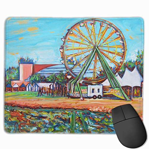 Professional Gaming Mouse Pads County Fair Ferris Wheel Laptop Pad Non-Slip Rubber Stitched Edges 18X22cm -