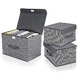 DIMJ 3 Stück Aufbewahrungsboxen mit Deckel und Griff, Faltbarer Cube Aufbewahrungskorb Ordnungsystem für Kleiderschrank, Kleidung, Bücher, Kosmetik, Spielzeug etc.