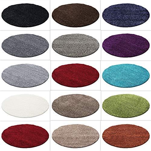 HomebyHome Hochflor Shaggy Rund Teppich Carpet Wohnzimmer vers. Farben & Größen Neu, Farbe:Grau, Größe:120 cm Rund