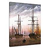 Bilderdepot24 Leinwandbild - Caspar David Friedrich - Ansicht eines Hafens - 40x50cm einteilig - Alte Meister - Kunstdruck - Leinwandbilder - Bild auf Leinwand