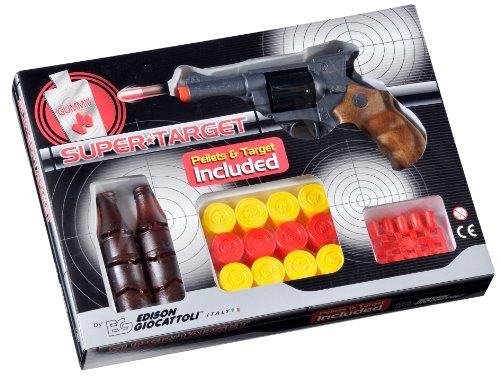 Edison Giocattoli Champions-Line Super Target: Spielzeugpistole mit Gummi-Munition und Flaschen sowie Zielscheiben in Box, 18.5 cm, braun / schwarz (E0480/21)