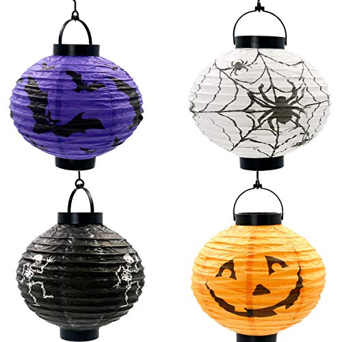 Nerioya Halloween Papier Laternen, 4 PCS LED Kürbis Spinn Fledermaus Skelett Licht hängen Runde Laterne