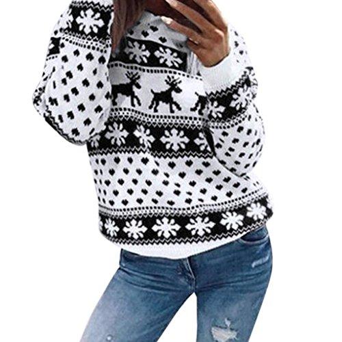 Bluse Damen Weihnachten Top Hoodie Pullover Sweatshirt Xinan Frauen Christmas Floral Print Langarm Hemd Sweater (Schwarz, XL) (Langarm-strickjacke Florale)