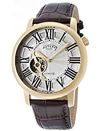 Rotary Men's Automatic Watch with Silver Dial Analogue Display and Brown Leather Strap GLE000019/21