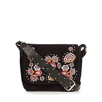 Nine By Savannah Miller Womens Black Suede Floral Embroidered Cross Body Bag Nine By Savannah ...