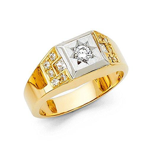 Gelbe Engagement Ringe (14K Solid Gelb Gold mit Zirkonia rund Seite Steine Herren-Ring, gold / gelb)