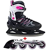 Cox Swain 2 in 1 Kinder Skates-/Schlittschuh -Joy- LED Leuchtrollen, ABEC 7 Carbon Lager, Colour: Black Pink, Size: S (33-36)