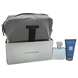 Azzaro Chrome Eau de Toilette spray, 30 ml/All Over shampoo, 50 ml/tweed trousse