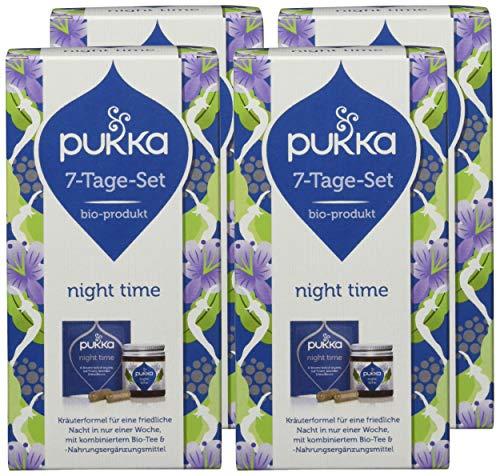 Pukka 7-Tage-Set (Starter-Set) Bio-Tee und Bio-Nahrungsergänzungsmittel Night Time (4 x 7 Teebeutel und 4 x 14 Kapseln), 4er Pack Pukka 7-Tage-Set
