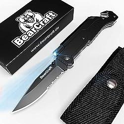 BearCraft Couteau Pliant avec ** eBook Gratuit ** | Couteau de Poche de Survie en Plein air à Bord dentelé | Couteau de Sauvetage avec Mini disjoncteur et Coupe Ceinture