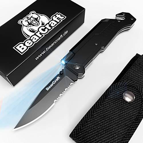 Bearcraft coltello pieghevole ebook gratuito ** | coltello tascabile per la sopravvivenza all'aperto con bordo dentellato | coltello di salvataggio con torcia a led e pietra focaia