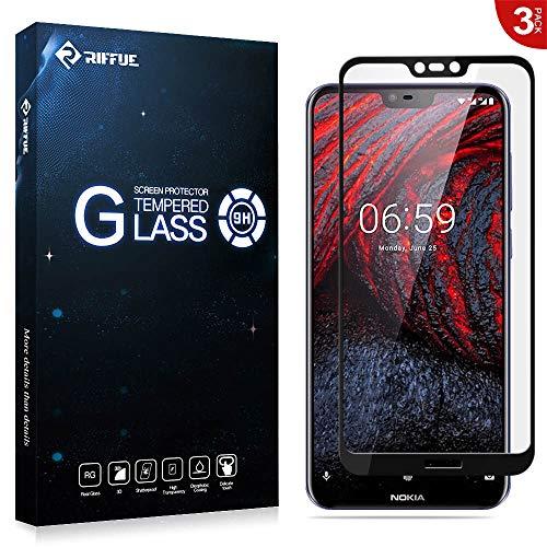 RIFFUE 3 X Nokia 6.1 Plus Panzerglas, Nokia 6.1+ Schutzfolie, 3D Vollabdeckung 9H Gehärtete Screen Protector Tempered Glass Glas Folie für Nokia 6.1 Plus 5.8