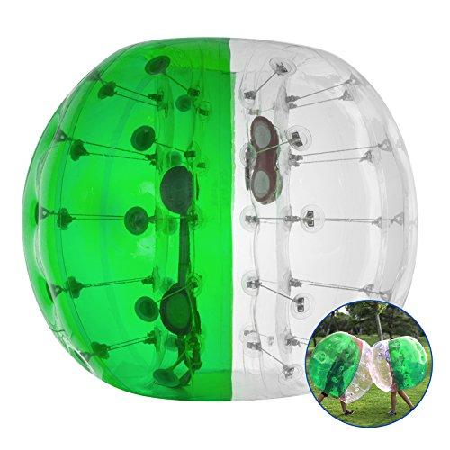 Happybuy aufblasbar Bumper Ball 1,2m/Sandsackset 1,5m 150/Durchmesser Bubble Fußball Blow Up Spielzeug in 5min aufblasbar Bumper Bubble Bälle für Erwachsene oder Kind, 1.5M Half Green