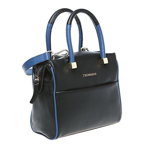 Trussardi Damen Kleine Boston Tasche mit Schulterriemen, echtes Kalbsleder Made in Italy 20x17x11 Cm Mod. 76B265M Schwarz