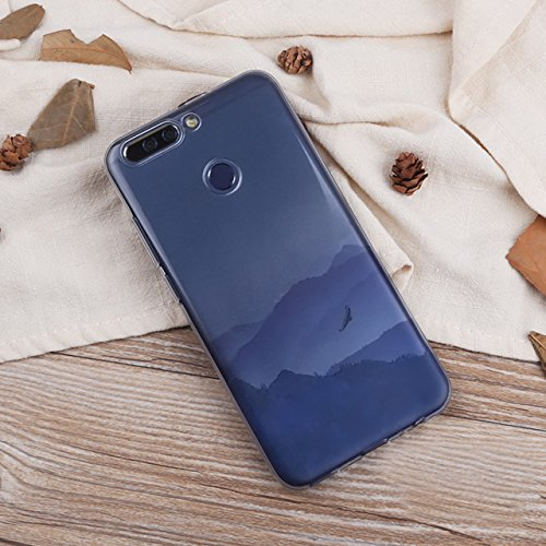 Huawei Honor V9 (5,7 zoll) Schutz Hülle Case in wunderschönem Design Weiches transparentes TPU Landschaft Handyhülle Foggy Cloudy Mountain Berg mit Schnee und Sonne Wolken und Sonnenaufgang Handy Etui Pattern 04
