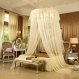 Debon Betthimmel Moskitonetz, rund Creolen Spitze Girl 's Betten Himmel Netz Vorhänge beige