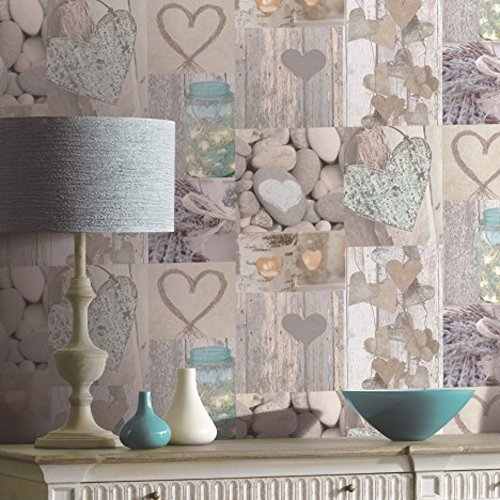 Arthouse Rustic Heart Photo Collage Pattern Wood Wallpaper 669600 Part 89