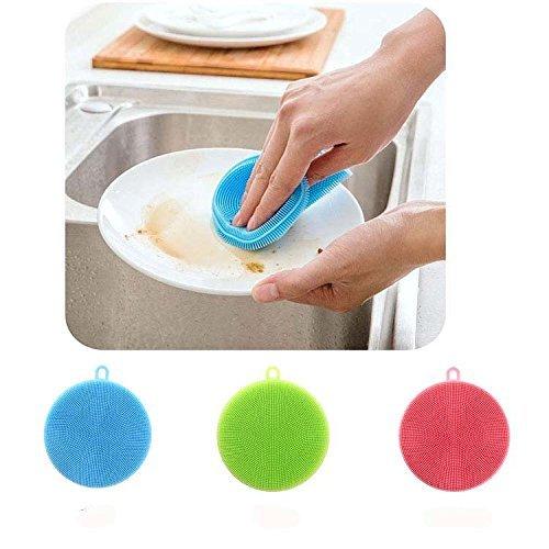 Hanxiang silicone Dish scrubber Wash utensili da cucina multifunzione morbida spazzola di pulizia Cleaner, frutta e verdura rondella, resistente al calore, tappetino drink Coatsers, Kitchen Wash Tool, set di 3