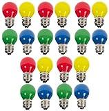 20xLED Tropfen E27 1W bunt gemischt Deko Lampe Birne farbig für Deko Lichterketten