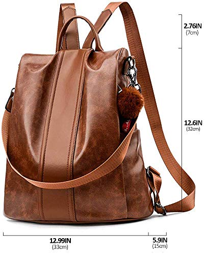 PARADOX Girl's Water Resistant Vegan Leather Anti-Theft School Shoulder Backpack (Brown) Image 2