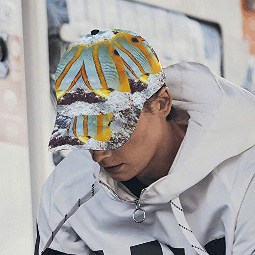Einstellbare Mens Hat Korallenriffe und Tropische Fische farbige Kappen für Frauen 100% Baumwolle weich passt Unisex Hip-Hop Sport Sommer Strand Aktivitäten Baby Hüte Baseball (Tropische Fische Hat)