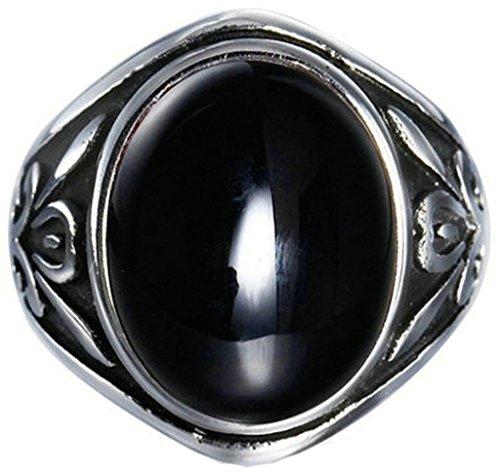 Coniea Edelstahlringe für Herren Blumenmuster mit Graviertem Ovalen Schwarzen Kristall Schwarz Ring Herren Größe 65 (20.7) (30 Call-kugeln)