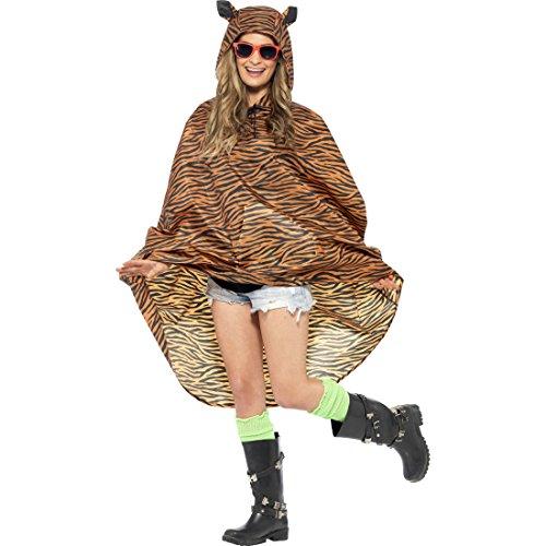 Amakando Tigerkostüm Damen Tiger Kostüm Poncho Katzen Regenjacke -