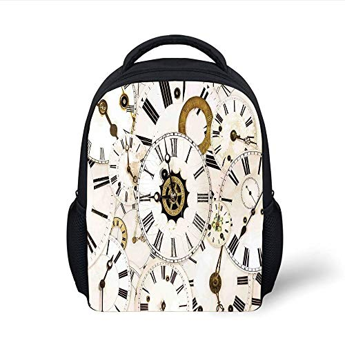 Kids School Backpack Antique,Collection of Vintage Classic Clock Faces Aged Analog Time Head Minute Hour Print,White Black Plain Bookbag Travel Daypack -
