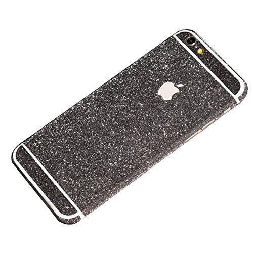 Dealspanks® Bling Glitzer Funkeln Voll Körper Sticker Vorder- und Rückseite Film Protektor Haut für Apple iphone 6 4.7 Inch (Schwarz) (Negative Protektoren)