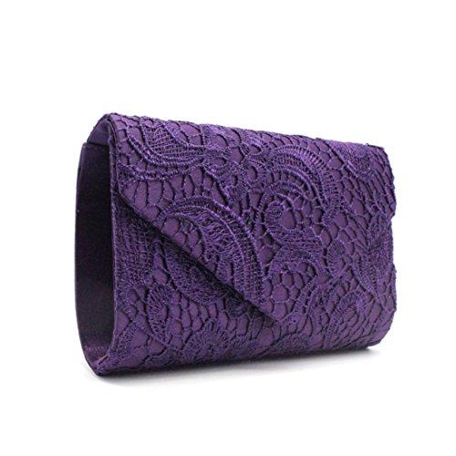 Envelope Clutch, Huhu833 Damen Elegante Blumenspitze Envelope Clutch Abend Prom Handtasche Violett