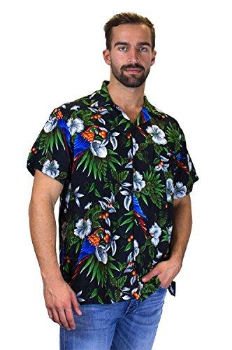 V.H.O. | Funky Hawaiihemd | Herren | Kurzarm | Front-Tasche | Hawaii-Print | Kirschblüten Papagei Blätter | Schwarz Schwarz