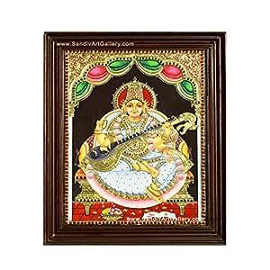 Sandiv Art Gallery 22 Carat Gold Saraswathi Tanjore Hindu Religious Goddess Worship Framed Photo Painting for Wall (12x10 Inch)
