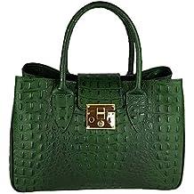 626a362eaa G.F. Borsa in vera pelle tracolla stile coccodrillo in rilievo made in  Italy verde