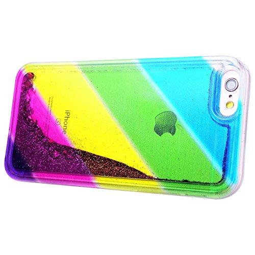 HB-Int Glitzer Liquid Hülle für iPhone 6 / 6S Regenbogen Serie TPU Bumper Backcover Sparkle Luxus Schutzhülle Flüssigkeit Handyhülle Glänz Tasche Bling Case - Blau Lila Slash Streifen