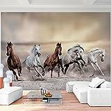 Fototapete Pferde Wüste - Vlies Wand Tapete Wohnzimmer Schlafzimmer Büro Flur Dekoration Wandbilder XXL Moderne Wanddeko - 100% MADE IN GERMANY - 9335010a