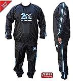 2Fit Blau/Schwitzanzug, Sauna, Gymnastik, Fitness, Sport, Sauna-Anzug, Trainingsanzug, Abnehm-Anzug, formgebend reißfeste M-6XL Blau 6XL