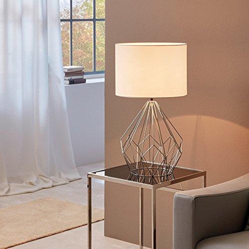 Licht-Trend Bosco Retro Tischleuchte Vintage-Look Chrom & Weiss Tischlampe -