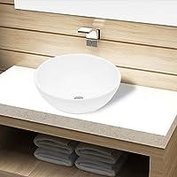 vidaXL Bassin d'évier Vasque à poser Lavabo rond céramique Blanc pour salle de bain