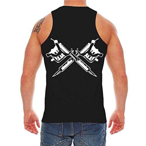 Männer und Herren Trägershirt Ja es tut weh (mit Rückendruck) Schwarz