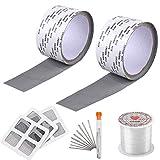 Kit(7pack) 2rotoli Nastro Adesivo per Riparazione Zanzariere+9 Aghi+1 rotolo Linea di Riparazione+3pz Rete Anti-Zanzara Autoadesiva per Finestre Insetto